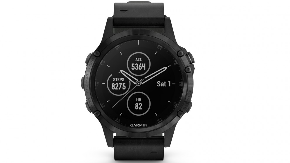 Garmin Fenix 5 Plus Sapphire Edition GPS Smart Watch - Black Case with  Black Leather Band