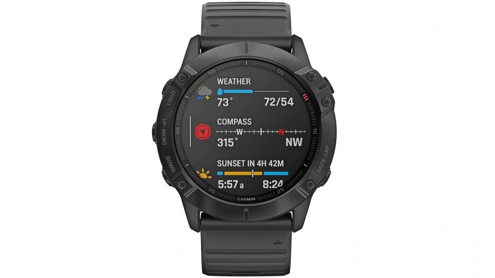 Garmin Fenix 6X Pro GPS Watch - Black Case with Black Band