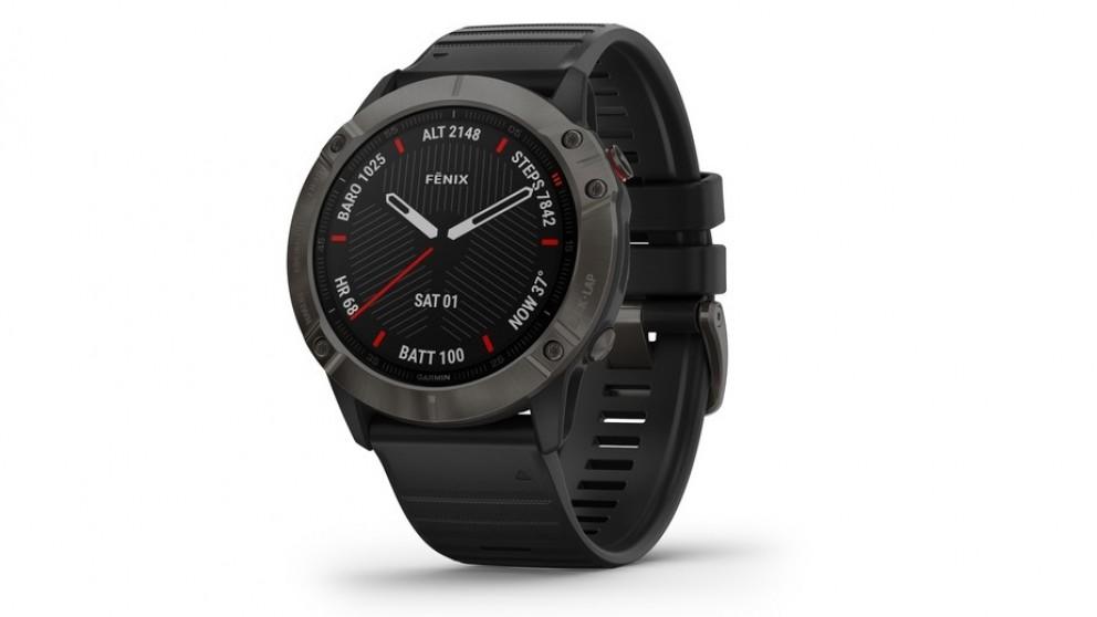 Garmin Fenix 6X Sapphire Edition GPS Watch - Carbon Grey DLC with Black Band