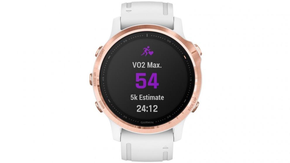 Garmin Fenix 6S Pro GPS Watch - Rose Gold Case with White Band