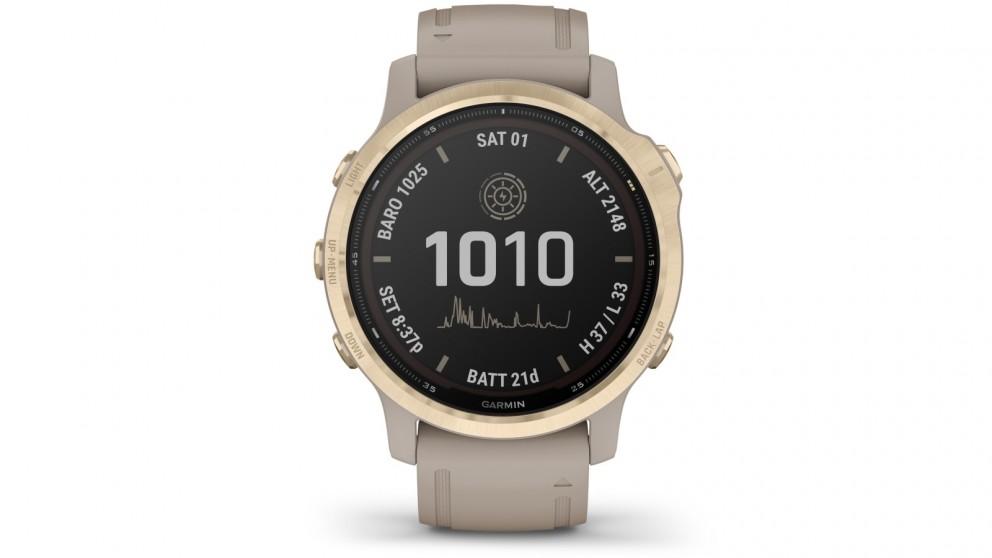 Garmin Fenix 6S Pro Solar Edition GPS Watch - Light Gold with Light Sand Band