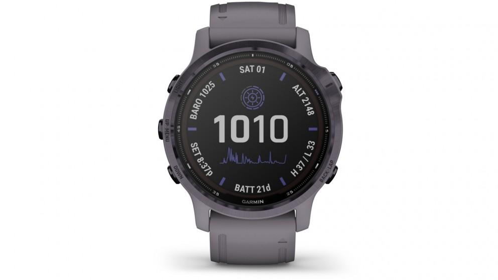 Garmin Fenix 6S Pro Solar Edition GPS Watch - Amethyst Steel with Shale Grey Band