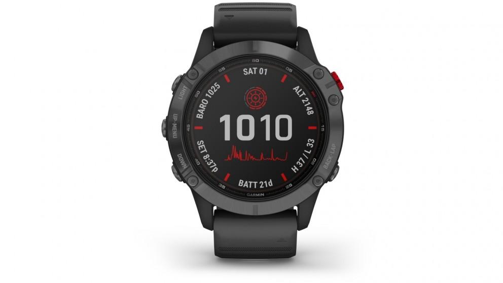 Garmin Fenix 6 Pro Solar Edition GPS Watch - Slate Grey with Black Band