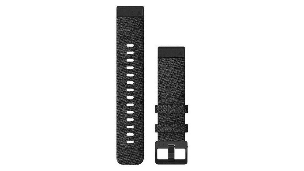 Garmin QuickFit 20 Heathered Black Nylon Watch Band - Black Hardware