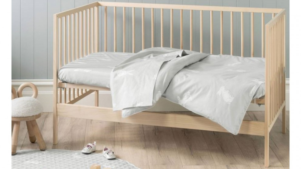 Hippity Hop Grey Cot Quilt Cover