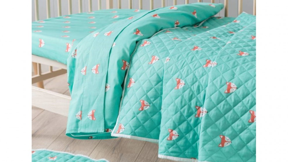 Foxy Teal Cot Coverlet