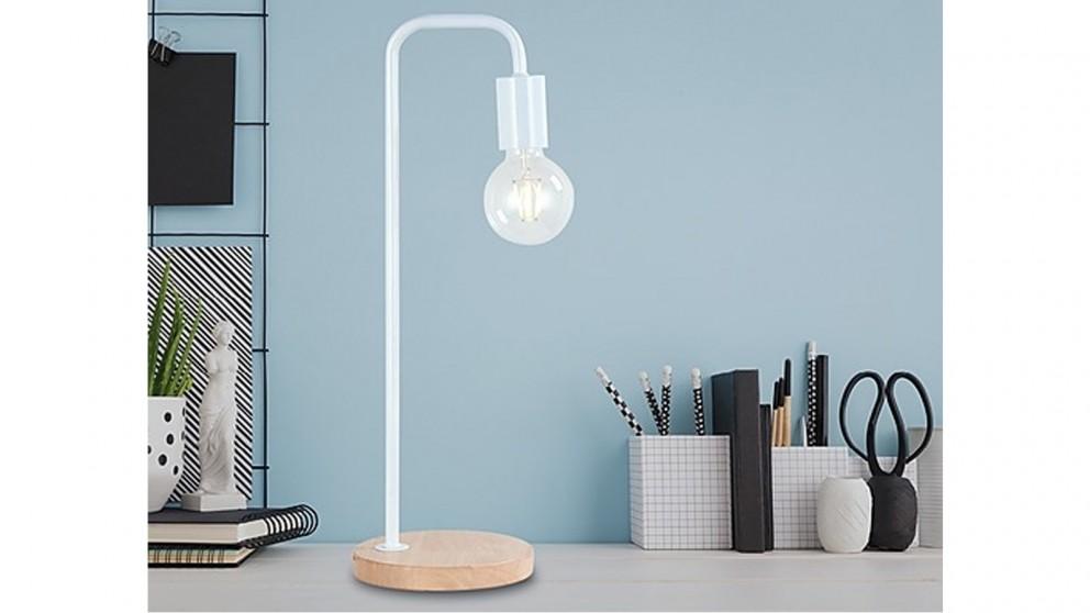 Serrano Modern Table Lamp Desk Light Timber Base Bedside Bedroom - White