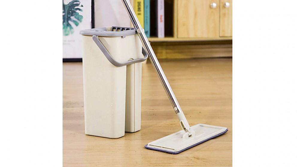 Serrano 4x Microfiber Pads Flat Mop Bucket Kit 360 Rotating Self Wash Cleaning