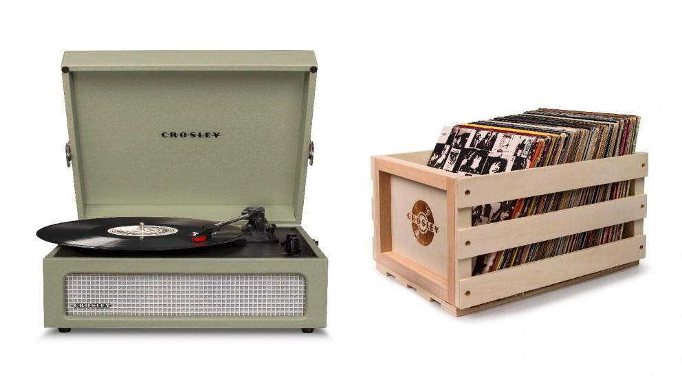 Crosley Voyager Bluetooth Portable Turntable + Bundled Record Storage Crate - Sage