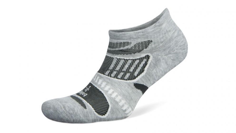 Balega Ultralight No Show Grey/White Socks - Large