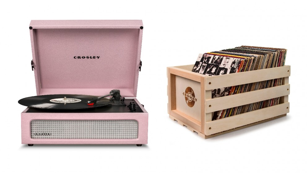 Crosley Voyager Bluetooth Portable Turntable + Bundled Record Storage Crate - Amethyst