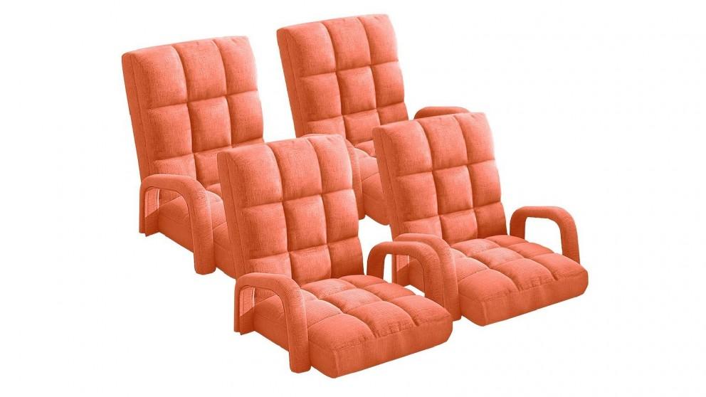 Soga 4X Floor Recliner Lazy Chair with Armrest - Orange