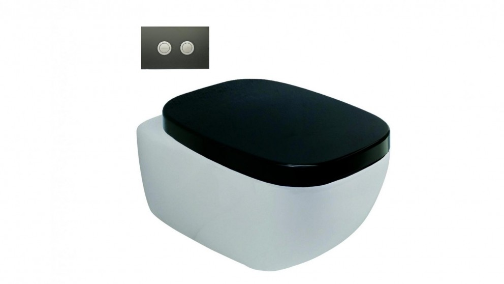 Parisi Dial Black and White Wall Hung Pan with In-Wall Cistern and Black Glass Flushplate