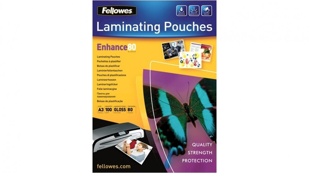 Buy Fellowes A3 Glossy 80 Micron Laminating Pouch 100