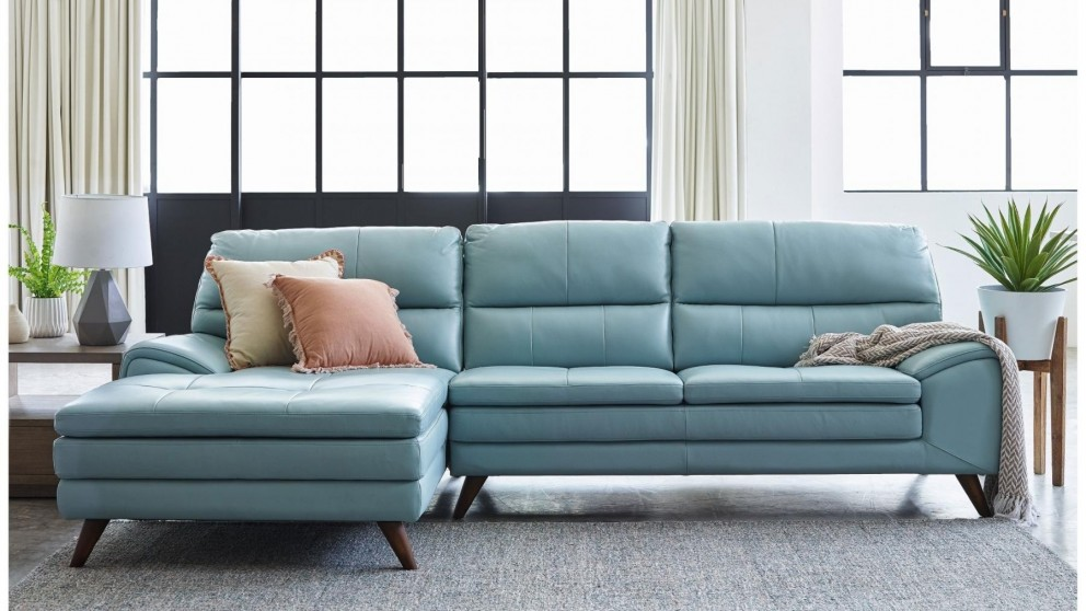 Buy Splendor 3-Seater Leather Sofa with Chaise | Harvey Norman AU