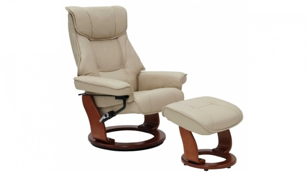 Orebro Leather Recliner and Footstool