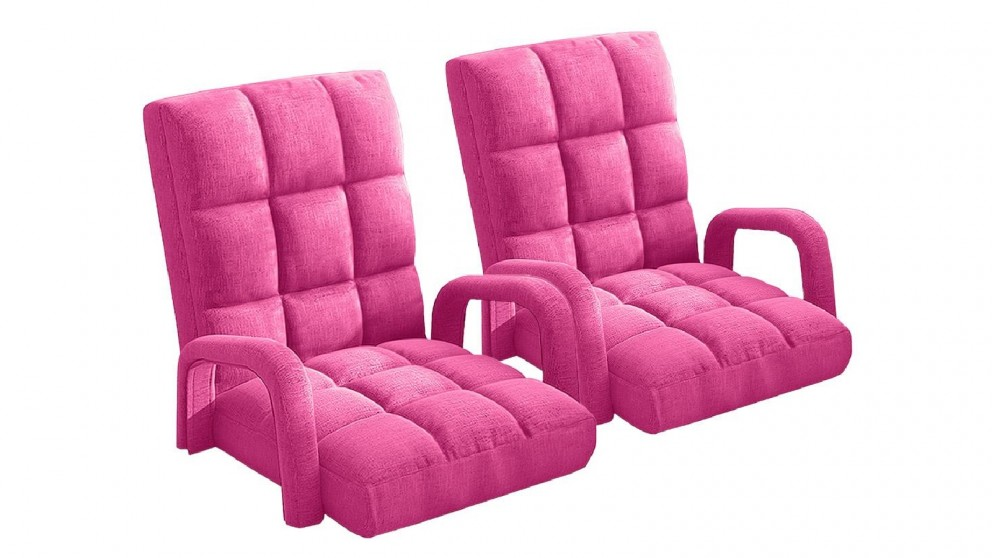 Soga 2X Floor Recliner Lazy Chair with Armrest - Pink