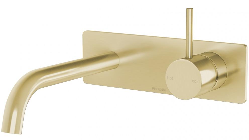 Phoenix Vivid Slimline Up Wall Basin/Bath Mixer Set - Brushed Gold