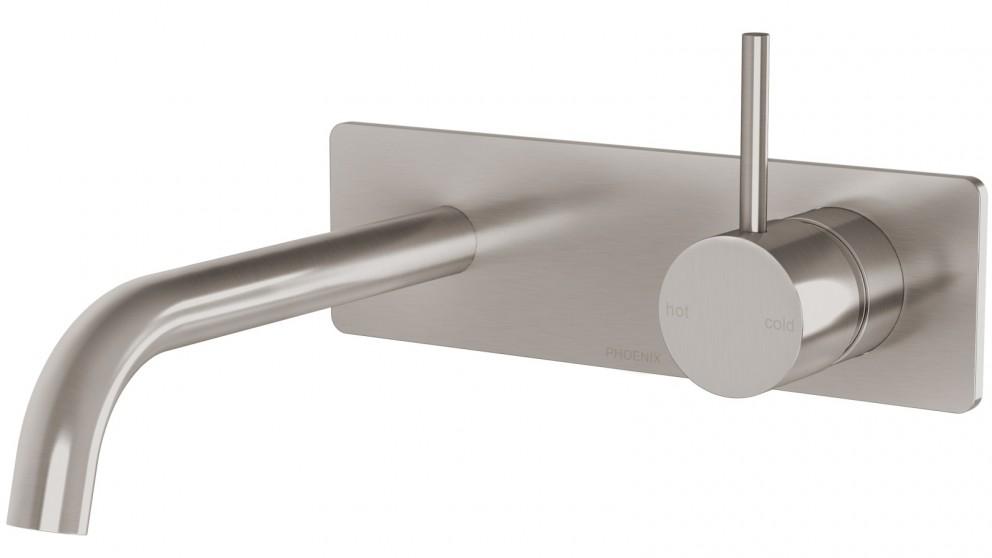 Phoenix Vivid Slimline Up Wall Basin/Bath Mixer Set - Brushed Nickel