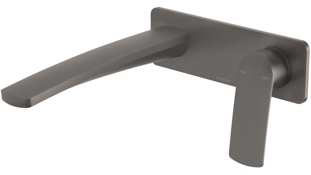 Phoenix Mekko 200mm Wall Basin/Bath Mixer Set - Gun Metal