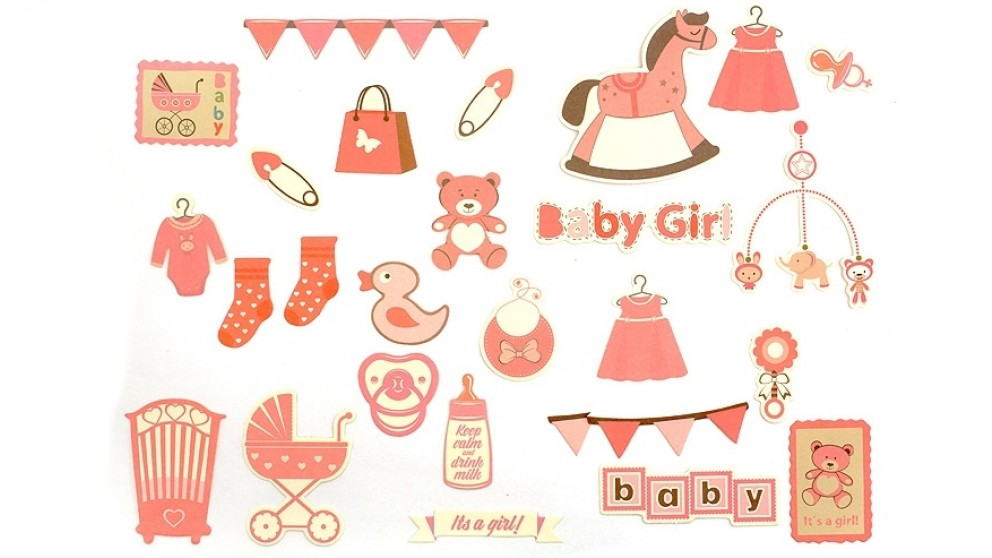 Instax Scrapbook Card Cut-Outs - Baby Girl