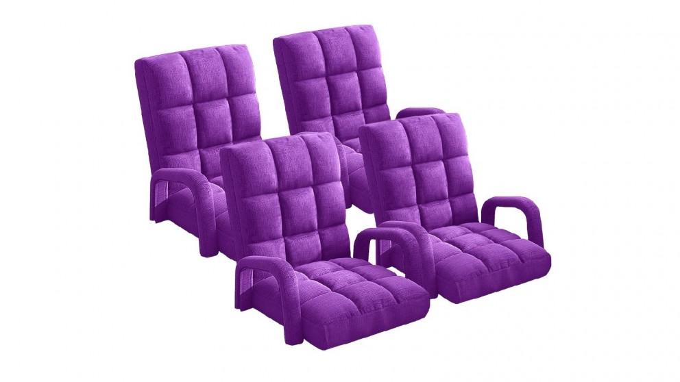 Soga 4X Floor Recliner Lazy Chair with Armrest - Purple