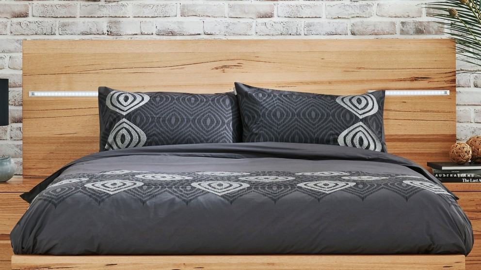 Optical Charcoal King Quilt Cover Set