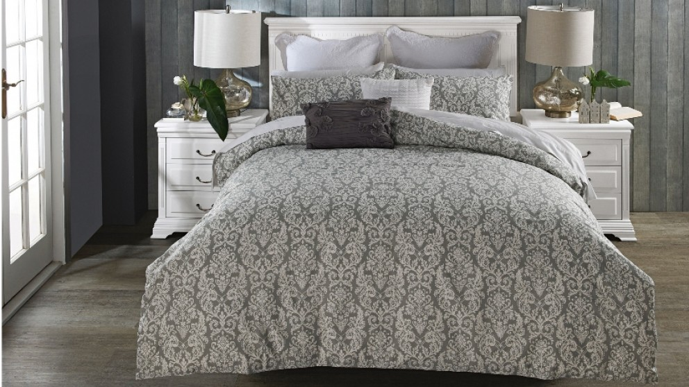 Kay Charcoal Quilt Cover Set - Queen