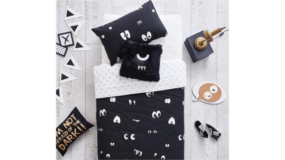 Peek A Boo Black Quilt Cover Set - Single