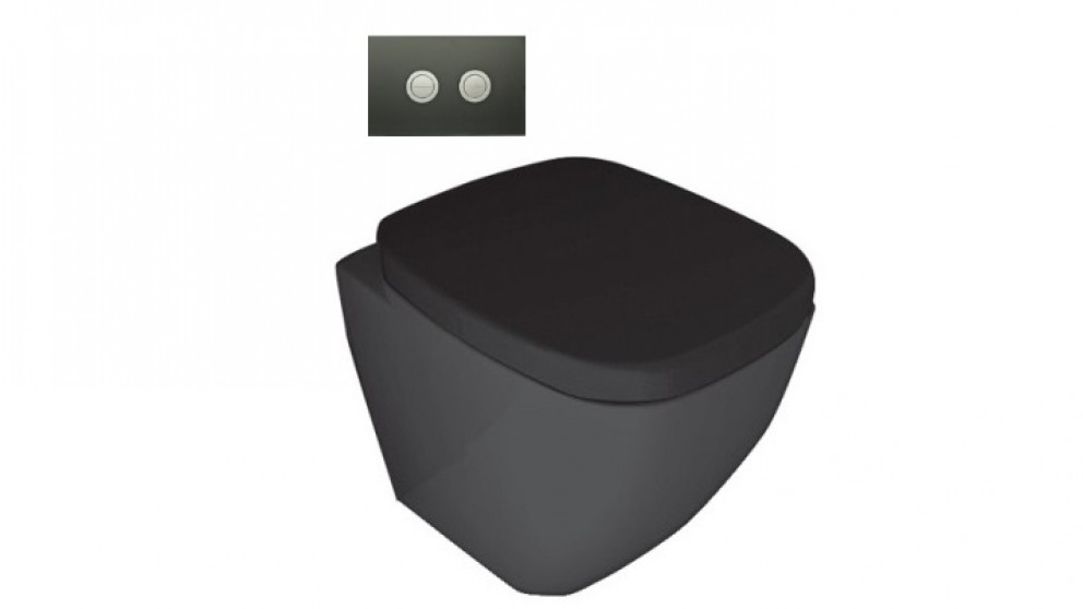Parisi Dial Gloss Black Wall Faced Pan with In-Wall Cistern and Black Glass Flushplate