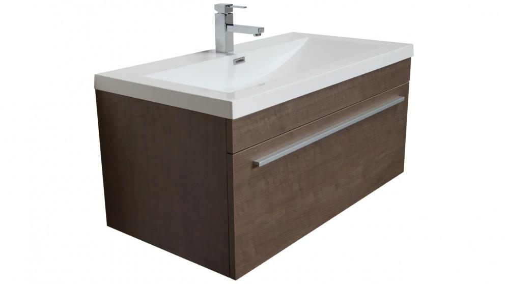 Vanity Bathroom Harvey Norman forme reflex 900mm brown wall hung vanity - bathroom vanities