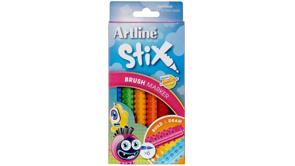 Artline 6-Pack Artline Stix Colour Brush Markers