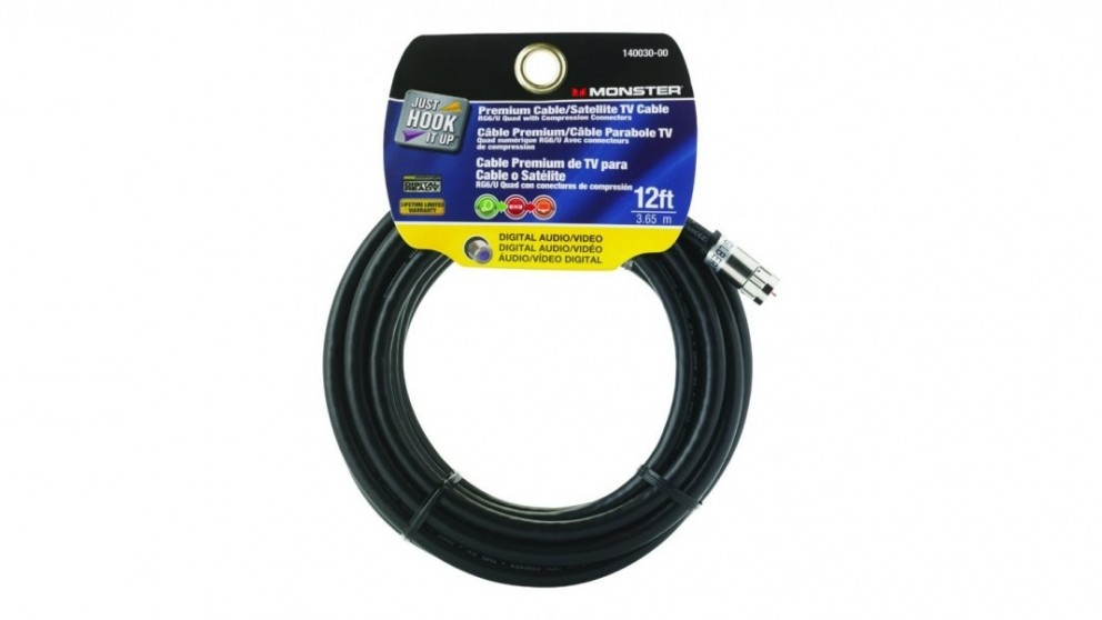 Monster RG6 Quad Coax Cable with Compression Connectors - 12 Feet