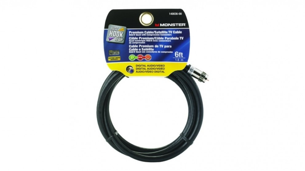 Monster RG6 Quad Coax Cable with Compression Connectors - 6 Feet