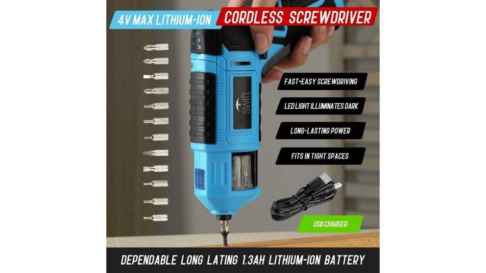 Swift 4V Max Cordless Screwdriver 12 pieces Screwdriver Bits