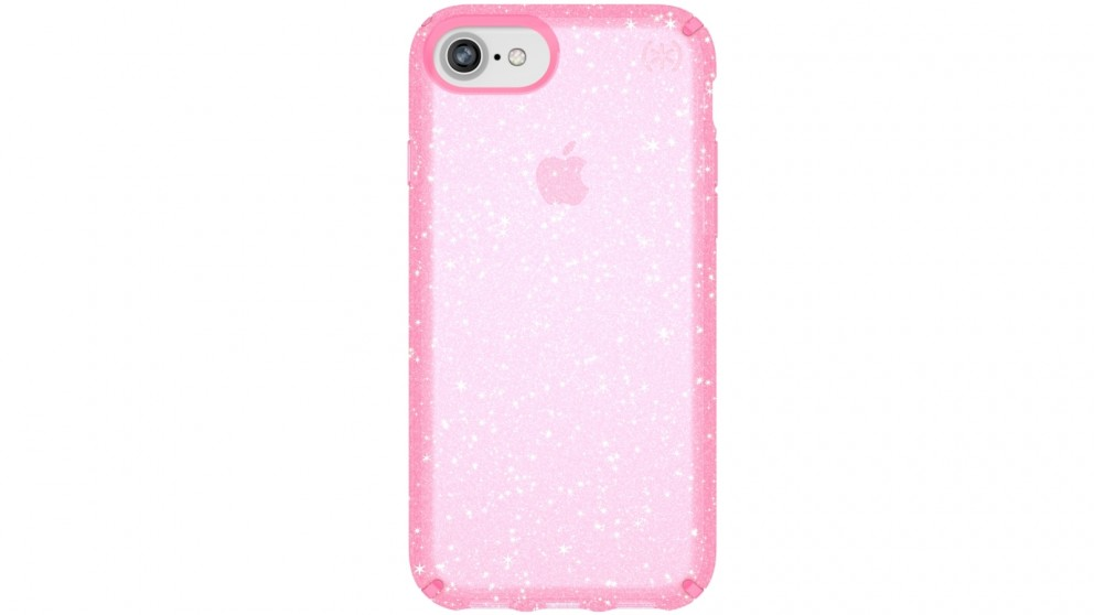Speck Presedio Clear + Glitter Case for iPhone 8 - Pink