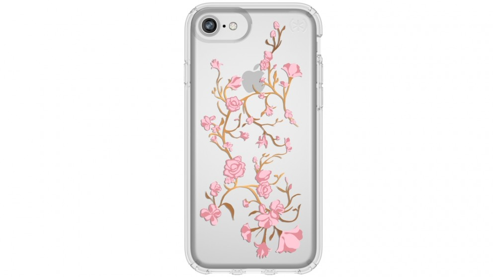 Speck Presidio Clear + Print Case for iPhone 8 - Golden Blossoms Pink