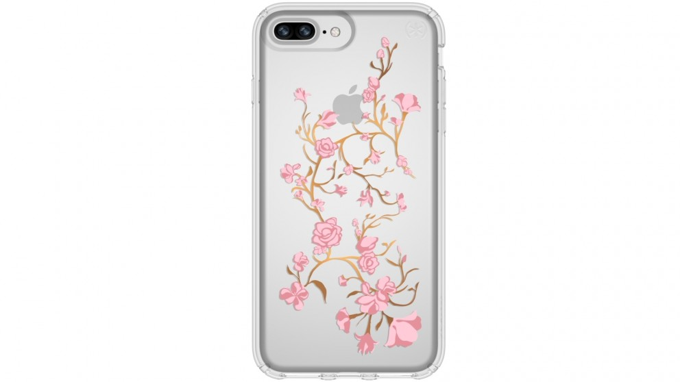Speck Presidio Clear + Print Case for iPhone 8 Plus - Golden Blossom Pink