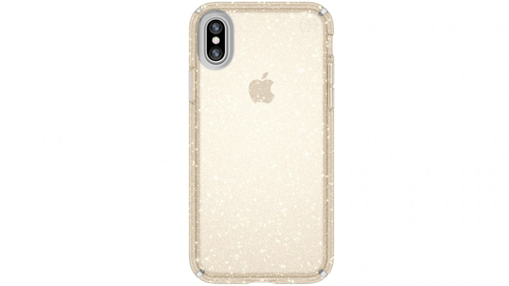 Speck Presidio Clear + Glitter Case for iPhone X - Gold