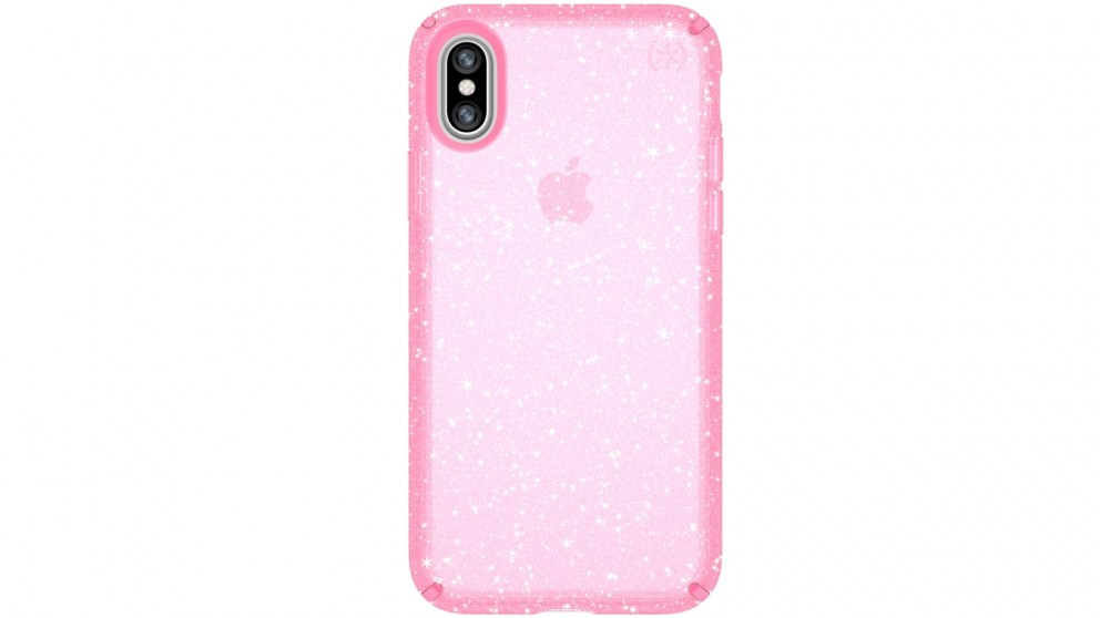 Speck Presidio Clear + Glitter Case for iPhone X - Pink