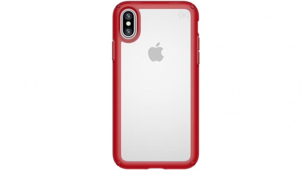 Speck Presidio Show Case for iPhone X - Clear/Heartthrob Red