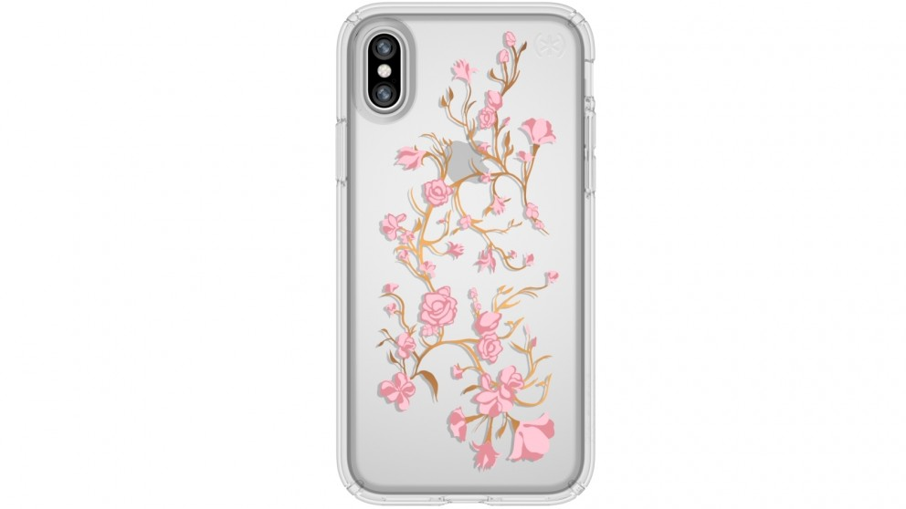 Speck Presidio Clear + Print Case for iPhone X - Golden Blossom Pink