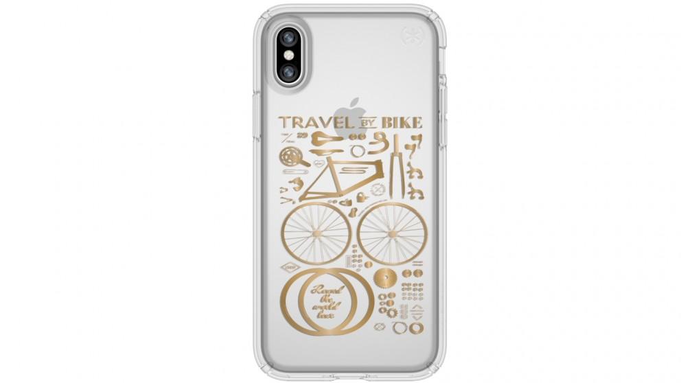 Speck Presidio Clear + Print Case for iPhone X - City Bike Metallic Gold