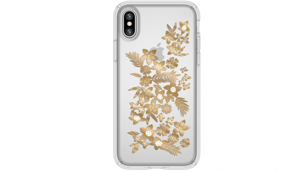 Speck Presidio Clear + Print Case for iPhone X - Shimmer Floral Metallic Gold