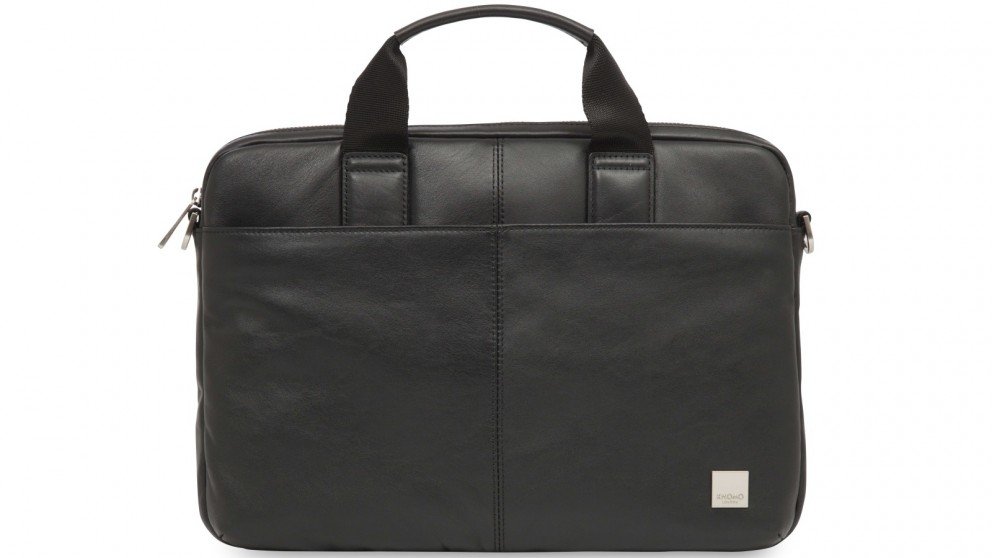 "Knomo Brompton Classic Stanford 13"" Slim Leather Briefcase - Black"