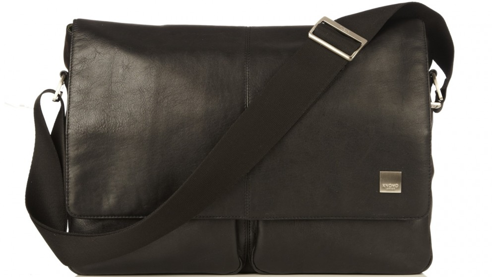"Knomo Brompton Classic Kobe 15"" Soft Leather Messenger Bag - Black"