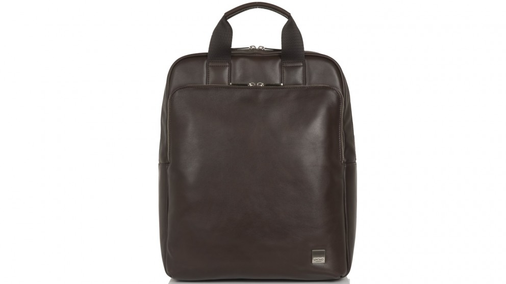 """Knomo Brompton Classic Dale 15"""" Leather Tote-Backpack - Brown"""