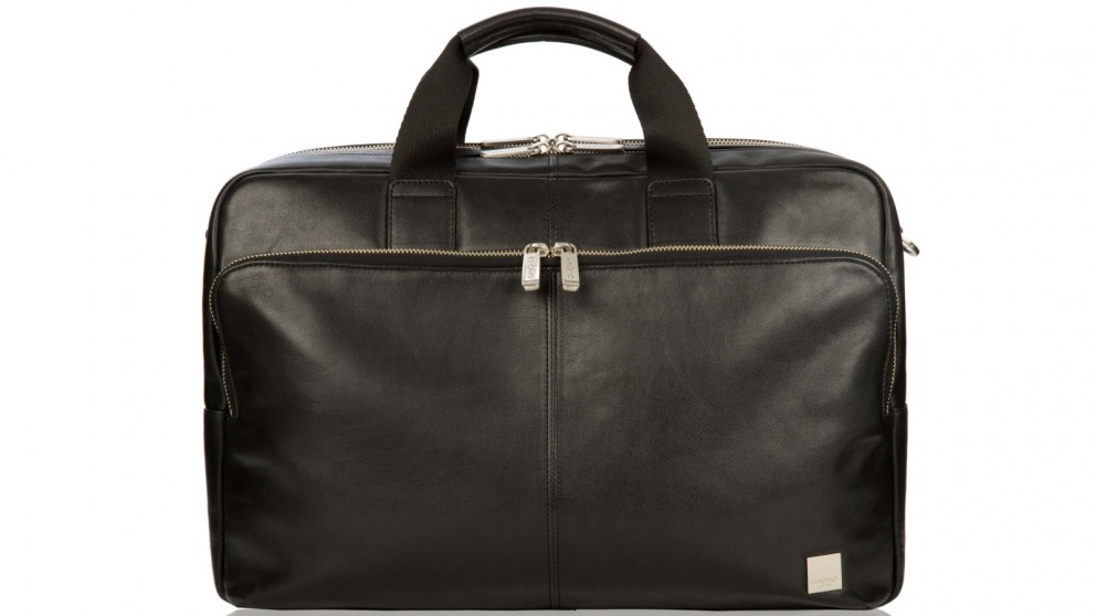 "Knomo Brompton Classic Amesbury 15"" Double Compartment Leather Briefcase - Black"