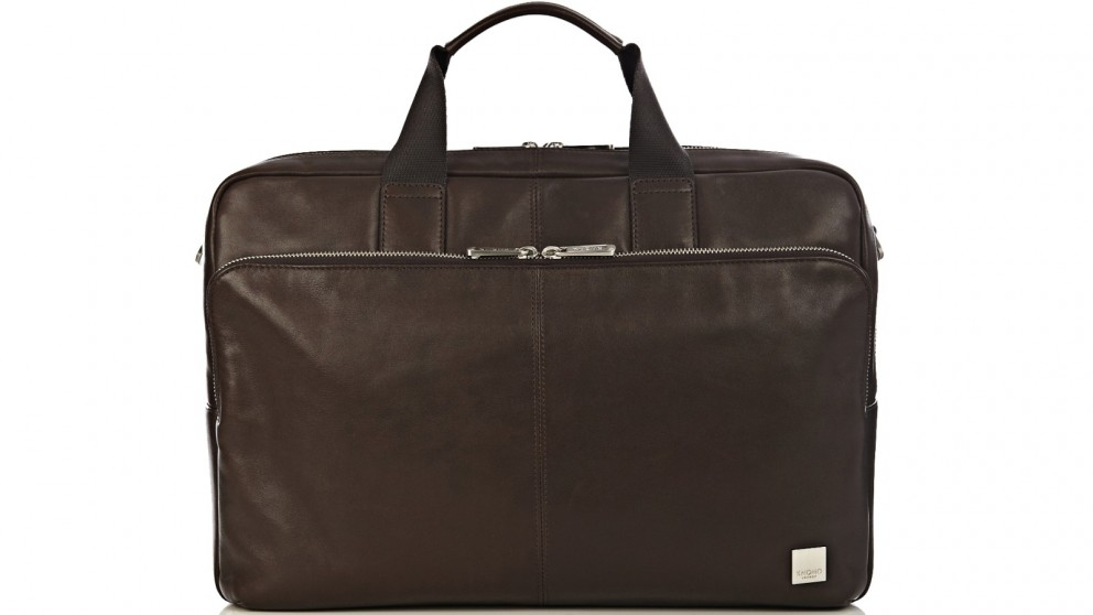 """Knomo Brompton Classic Amesbury 15"""" Double Compartment Leather Briefcase - Brown"""