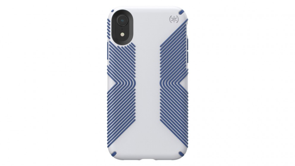 the best attitude e1d80 20970 Speck Presidio Grip Case for iPhone XR - Microchip Grey/Ballpoint Blue